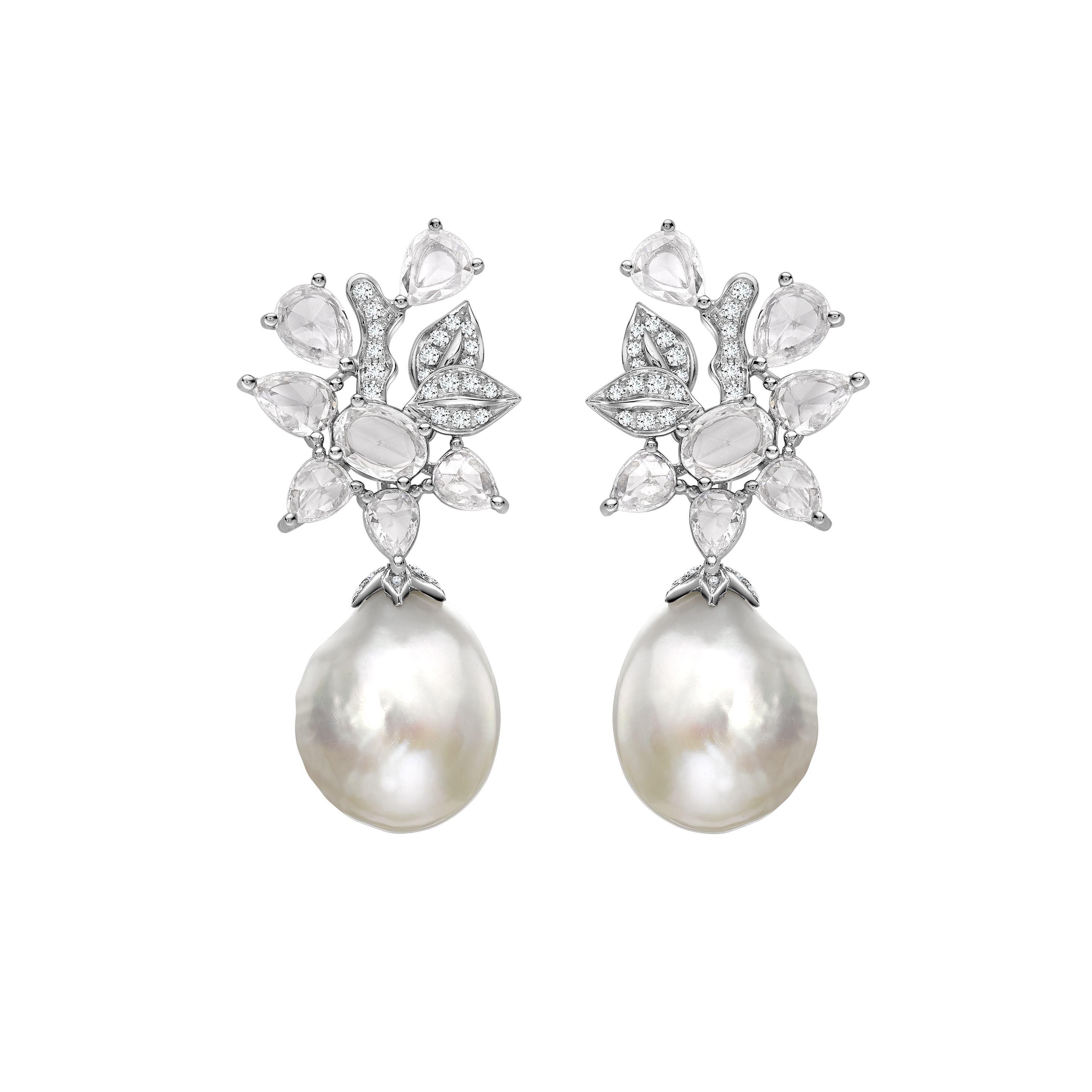 Earring Bar Diamond Pearl Earrings